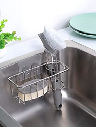 cheap -Adhesive Sponge Holder Dish Cloth Hanger 2-in-1 Sink Caddy Stainless Steel Rust Proof Water Proof No Drilling