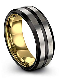cheap -tungsten wedding band ring 8mm for men women 18k yellow gold plated bevel edge black grey brushed polished size 6.5
