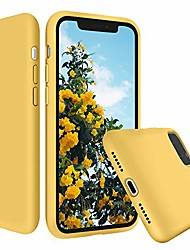 cheap -liquid silicone iphone 11 case silky touch with microfiber cloth lining cushion full-body protection cover slim case for iphone 11 6.1 inch (yellow)