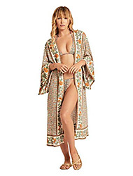 cheap -women's summer long kimono swimsuit cover up floral print cardigan beach coverups for women (rm-20)