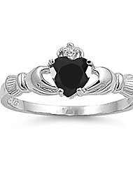 cheap -925 sterling silver faceted natural genuine blue sapphire claddagh heart promise ring size 9