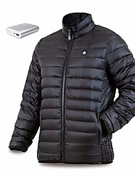 cheap -men's down heated jacket with battery 12 hour - heated coat, heated jacket for men 800 down fill (s) black