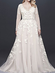 cheap -A-Line Wedding Dresses V Neck Court Train Lace Tulle Long Sleeve Illusion Sleeve with Beading Appliques 2021
