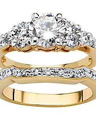cheap -18k yellow gold plated round cubic zirconia bridal ring set size 8