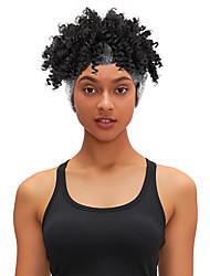 cheap -8 Inch Turban Hair Band Wig Headgear Black Ladies Explosive Hood Wig Hair Cover Fluffy Spiral Curly Hair Band Hair Band Black Gold #1B