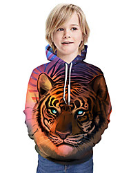 cheap -Kids Boys' Active Tiger 3D Graphic Animal Print Long Sleeve Hoodie & Sweatshirt Fuchsia