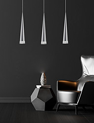 """cheap -3-Light 25cm(10"""") LED Cone Pendant Light Acrylic Kitchen Island Bar Lighting 15W Mini Hanging Light Silver Chrome Brushed Finish with Round Chassis"""