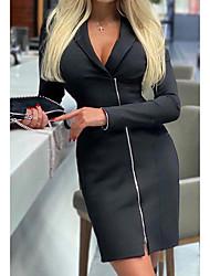 cheap -Women's Sheath Dress Short Mini Dress - Long Sleeve Solid Color Fall V Neck Elegant Casual Slim 2020 Black S M L XL