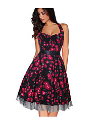 cheap -Women's Swing Dress Knee Length Dress Black Purple Red Yellow Khaki Sleeveless Print Backless Bow Print Fall Spring Halter Neck Sexy Cotton 2021 S M L XL XXL 3XL