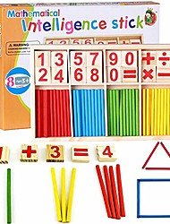 cheap -counting sticks montessori toys math educational toy, wooden intelligence sticks number cards and counting rods with box (counting sticks)