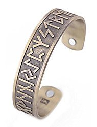 cheap -vintage norse viking runes cuff healthcare magnetic therapy bracelet gift jewelry for men women (antique gold)