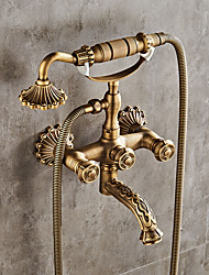 cheap -Brass Shower Faucet Set,Mount Outside Handshower Pullout Country Antique Brass Ceramic Valve Bath Shower Mixer Taps with Valve/Drain and Cold and Hot Switch