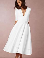 cheap -Women's Swing Dress Midi Dress - Half Sleeve Solid Color Patchwork Fall V Neck Elegant Party Slim 2020 White Black Blue Red Blushing Pink Wine Navy Blue Beige S M L XL XXL 3XL