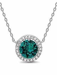 """cheap -rhodium plated sterling silver round halo pendant necklace on 18"""" necklace for women made with swarovski crystals (emerald crystal imitation may birthstone)"""