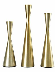cheap -set of 3 metal taper candle holders candlestick holders, vintage & modern decorative centerpiece candlestick holders for table mantel wedding housewarming gift (brass)