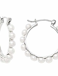 cheap -medium sterling silver freshwater pearl click-down hoop earrings, all sizes (30mm - 13 pearls)