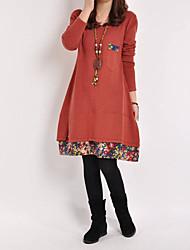 cheap -Women's Shift Dress Knee Length Dress Black Blue Red Yellow Army Green Long Sleeve Print Color Block Patchwork Print Fall Round Neck Strapless Casual 2021 M L XL XXL 3XL