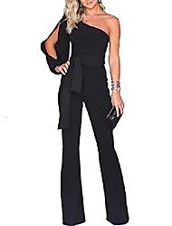 cheap -sexy solid color one off shoulder long split sleeve wide leg long romper jumpsuit with belt size xl black2