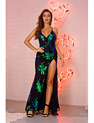 cheap -Women's Strap Dress Maxi long Dress Black Gold Green Sleeveless Solid Color Backless Sequins Embroidered Summer V Neck Sexy 2021 S M L XL