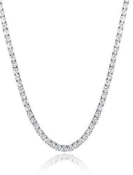 cheap -4mm tennis chain 18k white gold plated, round cubic zirconia cut tennis necklace for women men 18inch