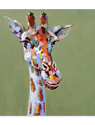 cheap -Giraffe Oil Painting On Canvas Abstract Contemporary Art Wall Paintings Handmade Painting Home Office Decorations Canvas Wall Art Painting Rolled Canvas(No Frame)