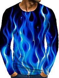 cheap -Men's Graphic 3D Plus Size T shirt 3D Print Print Long Sleeve Daily Tops Round Neck Blue / Sports