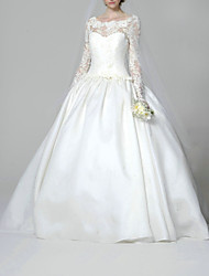 cheap -Ball Gown Wedding Dresses Jewel Neck Sweep / Brush Train Lace Satin Long Sleeve Formal with Appliques 2021