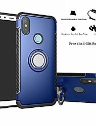 cheap -xiaomi mi a2 / mi 6x case, hybrid dual layer 360 degree rotation ring holder kickstand armor slim protective cover for xiaomi mi a2 / mi 6x - dark blue