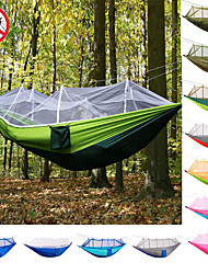 cheap -Camping Hammock with Mosquito Net Double Hammock Outdoor Ultra Light Portable Breathable Anti-Mosquito Parachute Nylon with Carabiners and Tree Straps 2 person Camping Hiking Hunting Army Green
