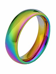 cheap -6mm rainbow wedding bands classic titanium stainless steel colorful promise band rings size 6-12