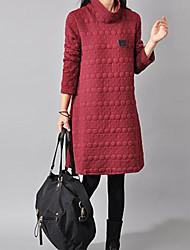 cheap -Women's Sheath Dress Knee Length Dress 3/4 Length Sleeve Solid Color Fall Vintage Cotton 2021 Black Wine Dark Gray M L XL XXL