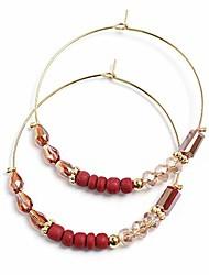 cheap -handmade stone beaded 14k gold plated hoop earrings boho dainty earrings jewelry for women (red, hot pink crystal)