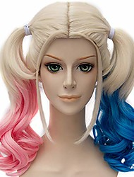 cheap -probeauty ponytail wigs blonde pink blue ponytail wavy synthetic cosplay wig (long pink blue mix blonde)