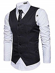 cheap -men's pinstripe 4 buttons business suit vest classical 1920s style waistcoat black xl