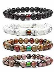 cheap -unisex mens bracelets set - lava rock black matte agate dragon vein agate tiger eye's stone beads bracelet, gold & silver plated lion head (color changing mood bead bracelets set)