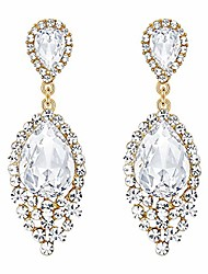 cheap -wedding bridal dangle earrings for women crystal teardrop cluster beads chandelier earrings gold-toned clear