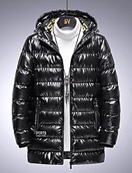 cheap -Men's Down Parka Plus Size Solid Colored POLY Black / Gray M / L / XL