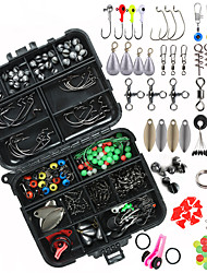 cheap -188pcs fishing accessories kit, including jig hooks, bullet bass casting sinker weights, fishing swivels snaps, sinker slides, fishing set with tackle box