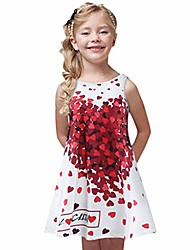 cheap -girls summer sleeveless dress flower animal printing swing dress round neck for casual/party/holidays 6-10 years