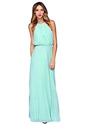 cheap -women elegant short sleeve floor length dress with front pocket loose party casual party dress (blue a, xl)