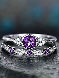 cheap -Ring Vintage Style Blue Purple Blushing Pink Rhinestone Alloy Elegant Fashion European 2pcs 5 6 7 8 9 / Women's