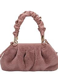 cheap -Women's Bags Faux Fur Crossbody Bag Zipper Daily Outdoor Handbags Baguette Bag MessengerBag White Black Blue Blushing Pink