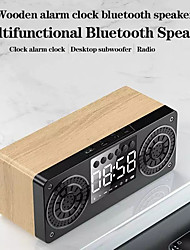 cheap -A10 Wooden Bluetooth 5.0 Speaker Portable Outdoor Loudspeaker Subwoofer Soundbar LED Display Support TF USB AUX FM Custom Alarm Clock