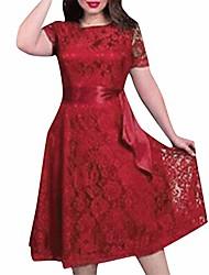 cheap -plus size lace vintage dresses for women, short sleeve wedding prom midi dress with belt sexy swing dress xs-6xl wine
