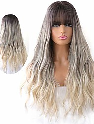 cheap -natural long wavy curly wig for women hair dye synthetic full wig with bangs (blond)