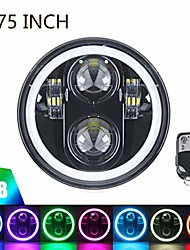 "cheap -5.75"" rgb halo headlight,  led black motorcycle 5 3/4"" headlamp with white drl multicolor angel eyes fit harley davidson dyna sportster 883 72 48, 1pc"