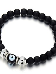 cheap -mens women mat black bead bracelet with murano-style glass evil eye bead, protection prayer mala