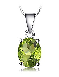 cheap -gemstones birthstone necklace for women 925 sterling silver solitaire pendant necklace for girls 1.7ct natural peridot necklace chain box 18 inches oval cut