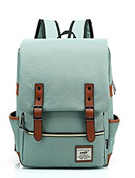 cheap -lmeikk15 inches retro backpack school bag notebook computer neutral canvas backpack (red wine)