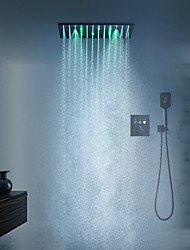 cheap -16 Inch Black Shower Faucets Sets Complete with Spray Rainfall Shower Head Ceiling Mounted LED Shower Head System(Contain Shower Faucet Rough-in Valve Body and Trim)